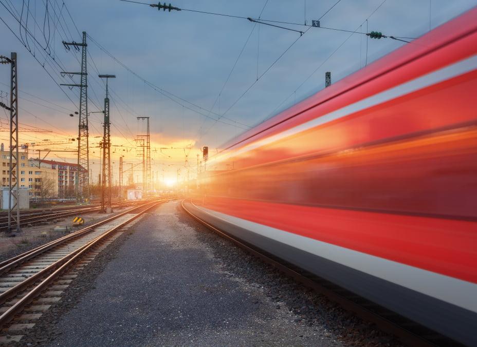 High speed train in a trainyard