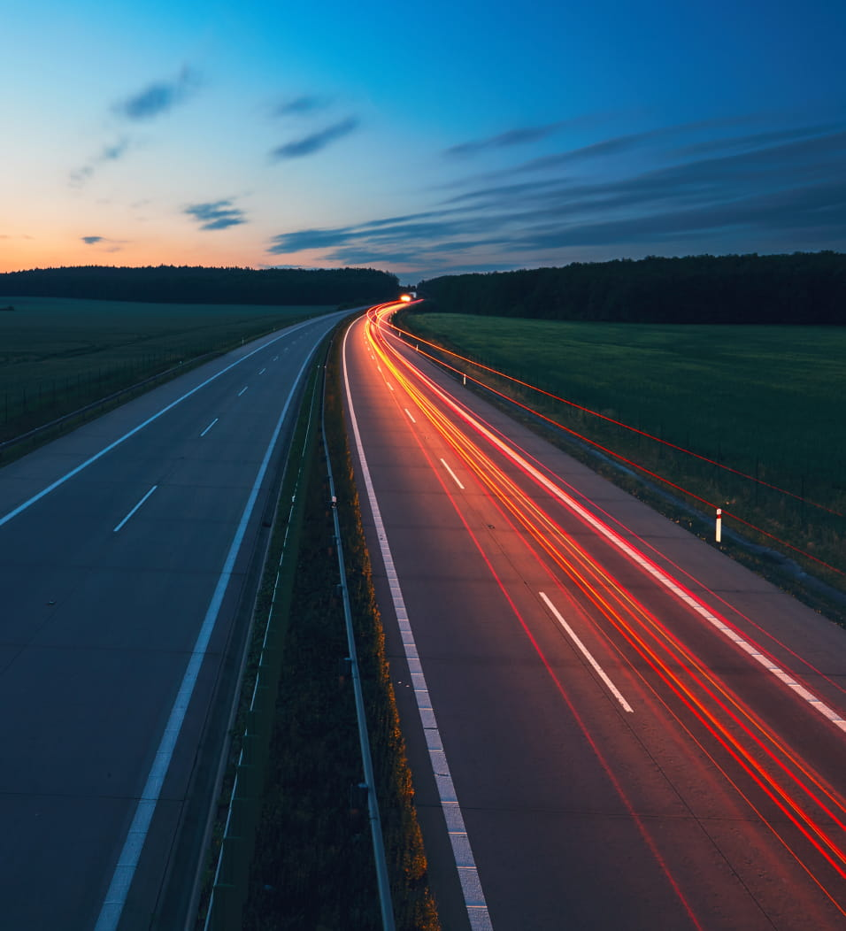 Long exposure photo on a highway at sunrise